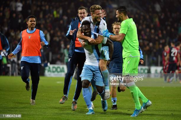 Felipe Caicedo of SS Lazio celebrates with his team mates after winning the Serie A match between Cagliari Calcio and SS Lazio at Sardegna Arena on...