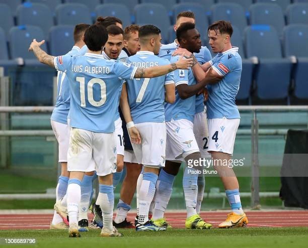 Felipe Caicedo of S.S. Lazio celebrates with Patric and team mates after scoring their side's third goal during the Serie A match between SS Lazio...
