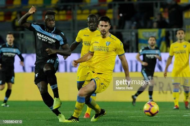 Felipe Caicedo of SS Lazio compete for the ball with Luka Krajnc of Frosinone Calcio during the Serie A match between Frosinone Calcio and SS Lazio...