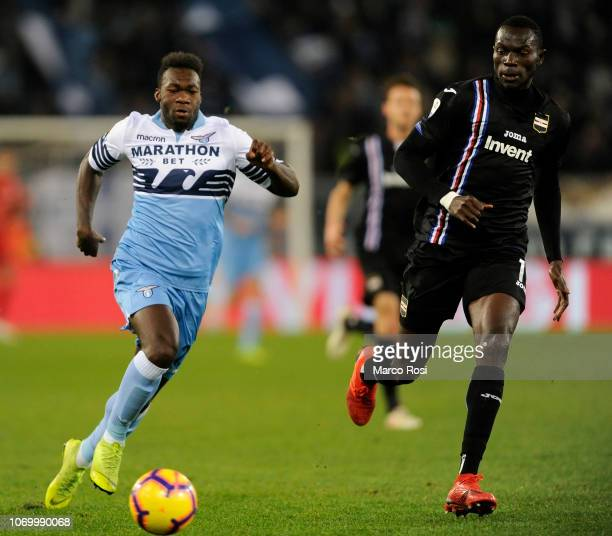 Felipe Caicedo of SS Lazio compete for the ball with Omar Colley of UC Sampdoria during the Serie A match between SS Lazio and UC Sampdoria at Stadio...