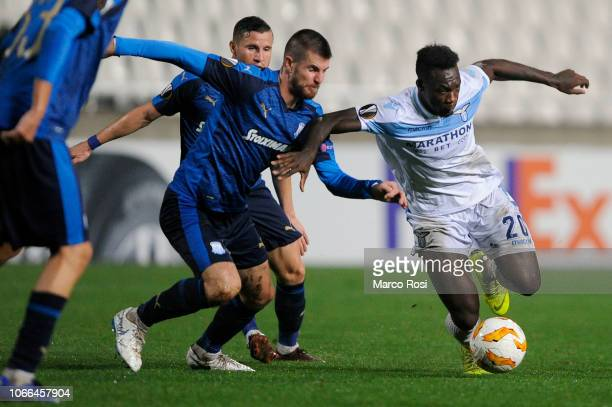 Felipe Caicedo of SS lazio compete for the ball with Sasa Markovic of Apollon Limassol during the UEFA Europa League Group H match between Apollon...