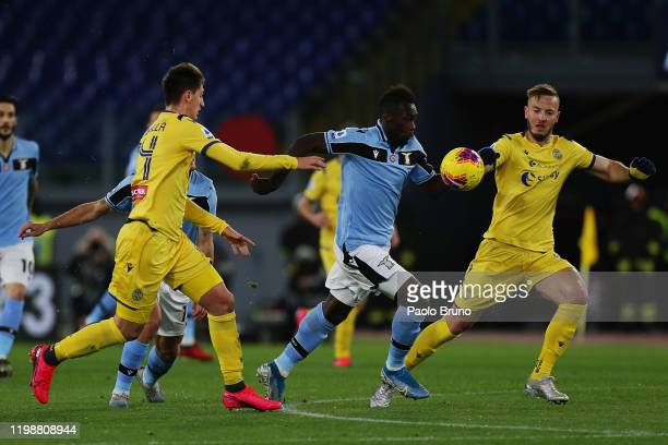 Felipe Caicedo of SS Lazio competes for the ball with Amir Kadri Rrahmani of Hellas Verona during the Serie A match between SS Lazio and Hellas...