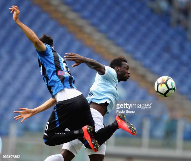 Felipe Caicedo of SS Lazio competes for the ball with Jose' Luis Palomino of Atalanta BC during the Serie A match between SS Lazio and Atalanta BC at...