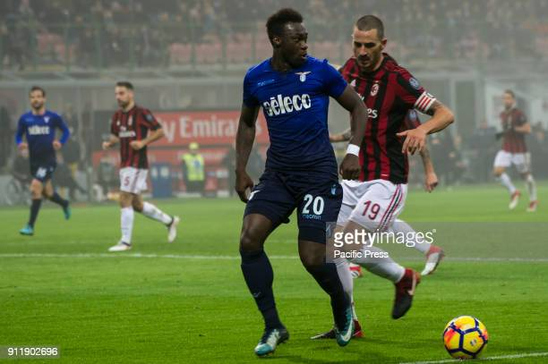 Felipe Caicedo of SS Lazio competes for the ball with Leonardo Bonucci of AC Milan during Serie A football AC Milan versus SS Lazio Ac Milan wins 21