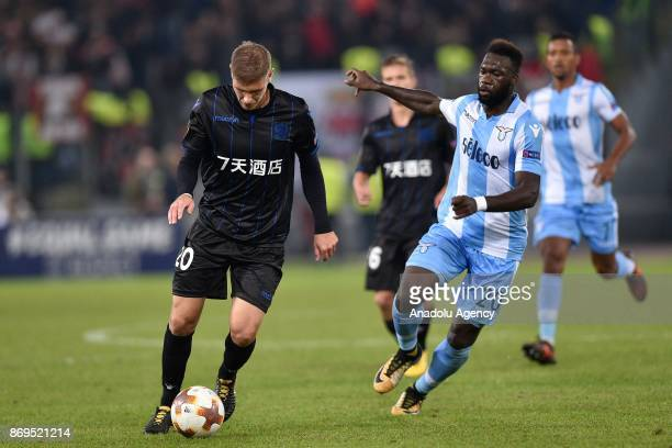 Felipe Caicedo of SS Lazio in action against Maxime Le Marchand of OGC Nice during the UEFA Europa League Group K soccer match between SS Lazio and...