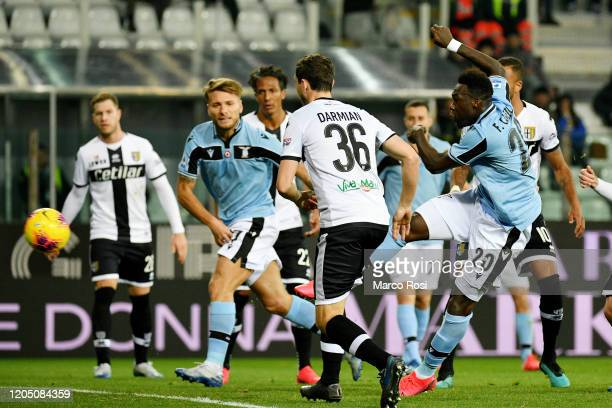 Felipe Caicedo of SS Lazio scores a opening goal during the Serie A match between Parma Calcio and SS Lazio at Stadio Ennio Tardini on February 09...