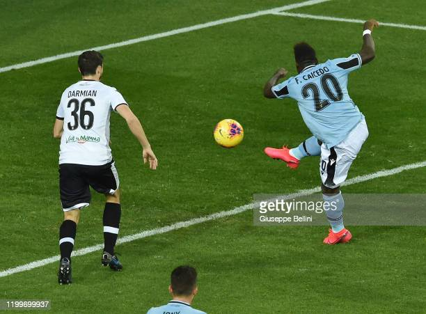 Felipe Caicedo of SS Lazio scores opening goal during the Serie A match between Parma Calcio and SS Lazio at Stadio Ennio Tardini on February 9 2020...
