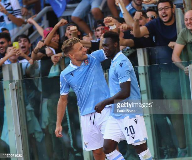 Felipe Caicedo with his teammate Ciro Immobile of SS Lazio celebrates after scoring the team's third goal during the Serie A match between SS Lazio...