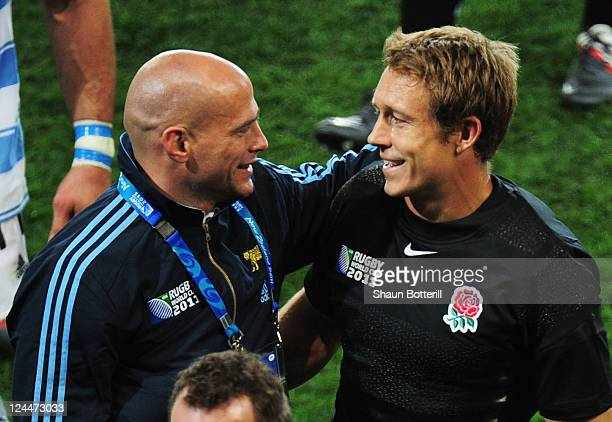 Felipe Contepomi of Argentina and Jonny Wilkinson of England speak after the IRB 2011 Rugby World Cup Pool B match between Argentina and England at...