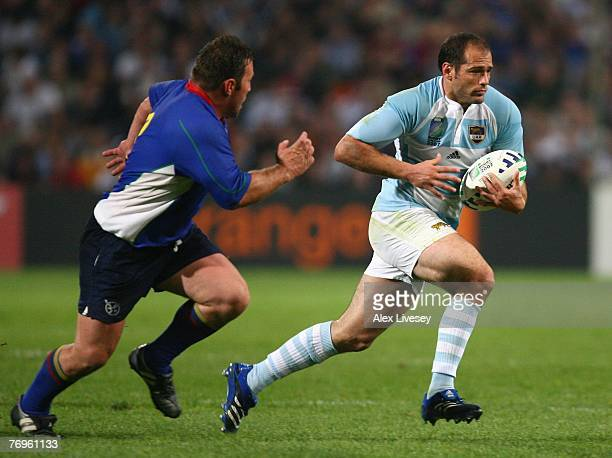 Felipe Contepomi of Argentina surges forward during Match Twenty Six of the Rugby World Cup 2007 between Argentina and Namibia at the Stade Velodrome...