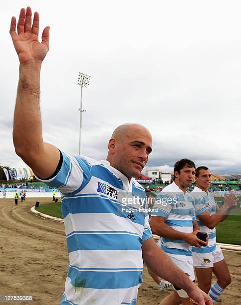 Felipe Contepomi of Argentina waves to fans after the IRB 2011 Rugby World Cup Pool B match between Argentina and Georgia at Arena Manawatu on...