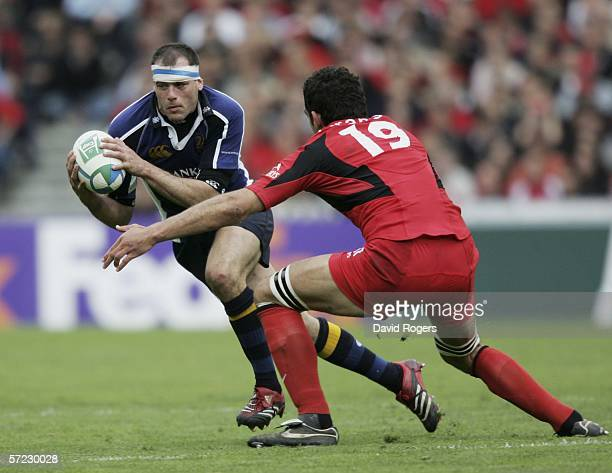 Felipe Contepomi the Leinster standoff takes on Gregory Lamboley of Toulouse during the Heineken Cup match between Toulouse and Leinster at Stade...