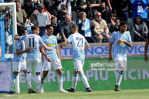 Felipe Dalbelo of SPAL celebrates after scoring the opening goal during the Serie A match between SPAL and Genoa CFC at Stadio Paolo Mazza on April...