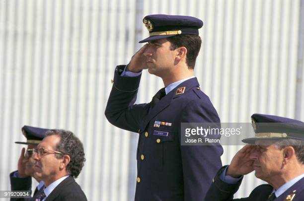 Felipe de Borbón Prince of Asturias in the Air Force base of Zaragoza Prince Felipe doing the military salutation beside the minister of Defense...