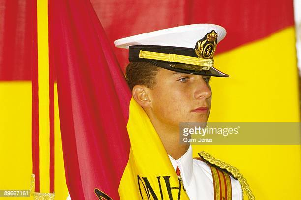 Felipe de Borbon Prince of Asturias in the ship school Juan Sebastian Elcano The prince with the flag of Spain after the arrival of the ship to...