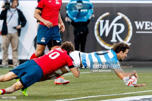 Felipe del Mestre of Argentina scores during the Pool C match between Argentina and Russia at the HSBC Rugby Sevens Series held in Sam Boyd Stadium...
