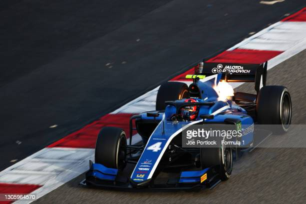Felipe Drugovich of Brazil and UNI-Virtuosi Racing drives during day one of Formula 2 Testing at Bahrain International Circuit on March 08, 2021 in...