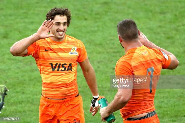 Felipe Ezcurra of the Jaguares celebrates his try during the round nine Super Rugby match between the Rebels and the Jaguares at AAMI Park on April...