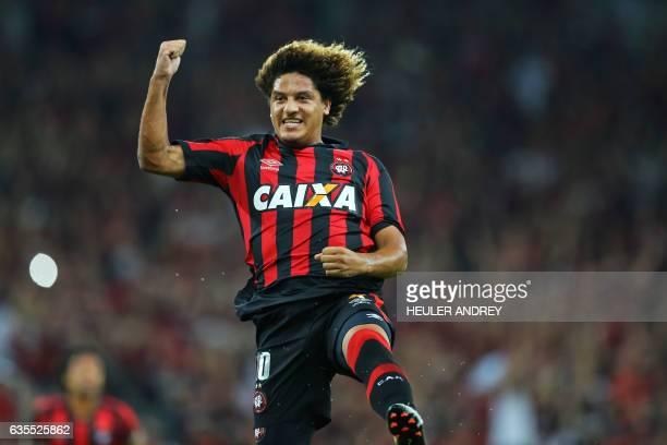 Felipe Gedoz of Brazil's Atletico Paranaense celebrates a goal scored against Paraguay's Deportivo Capiata during their Libertadores Cup football...