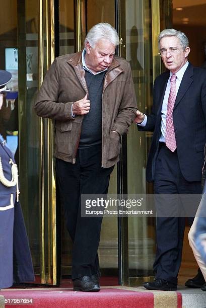 Felipe Gonzalez and Alvaro Uribe are seen on March 28 2016 in Madrid Spain