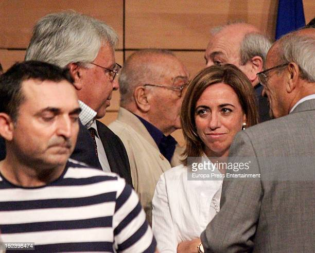 Felipe Gonzalez and Carmen Chacon attend the funeral for former Communist Party leader Santiago Carrillo September 19 2012 in Madrid Spain Carrillo...