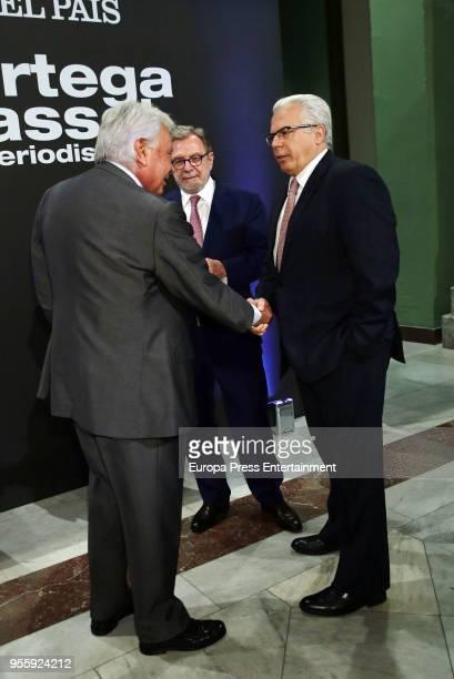 Felipe Gonzalez Juan Luis Cebrian and Baltasar Garzon attend 'Ortega y Gasset' Awards Ceremony at Circulo de Bellas Artes on May 7 2018 in Madrid...