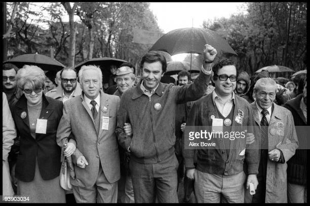 Felipe Gonzalez Marquez General Secretary of the Spanish Socialist Workers' Party leads the May Day celebrations in Madrid 1st May 1978 Gonzalez was...