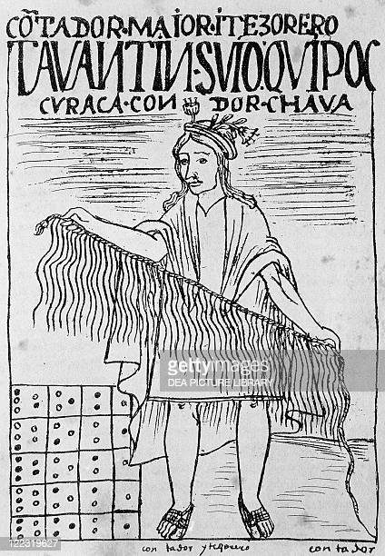 Felipe Guaman Poma de Ayala Nueva Cronica y Buen Gobierno 1587 Inca man holding a quipu a device made of strings and knots used to count and record...