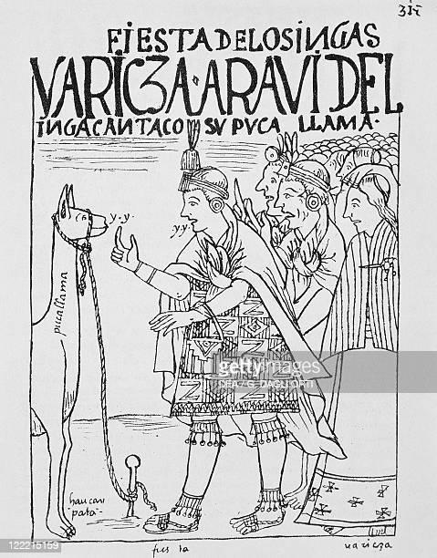 Felipe Guaman Poma de Ayala Nueva Cronica y Buen Gobierno 1587 Llama sacrifice in occasion of an Inca feast engraving