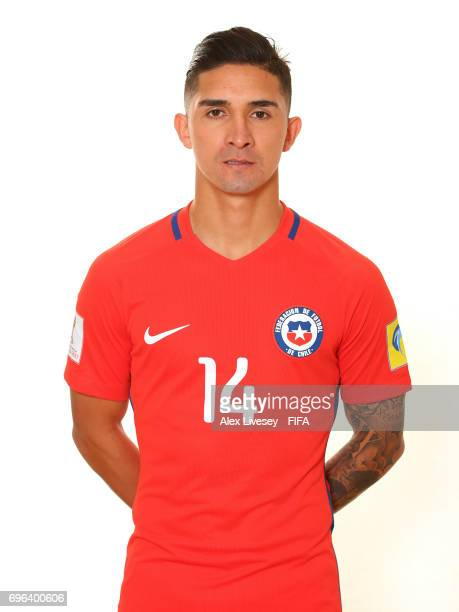 Felipe Gutierrez of Chile during a portrait session ahead of the FIFA Confederations Cup Russia 2017 at the Crowne Plaza Hotel on June 15 2017 in...