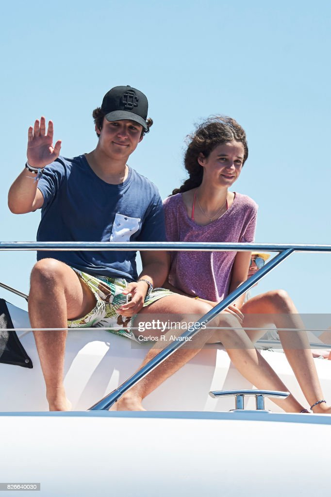 Felipe Juan Froilan de Marichalar y Borbon and sister Victoria Federica de Marichalar y Borbon are seen during the 36th Copa Del Rey Mafre Sailing Cup on August 5, 2017 in Palma de Mallorca, Spain.