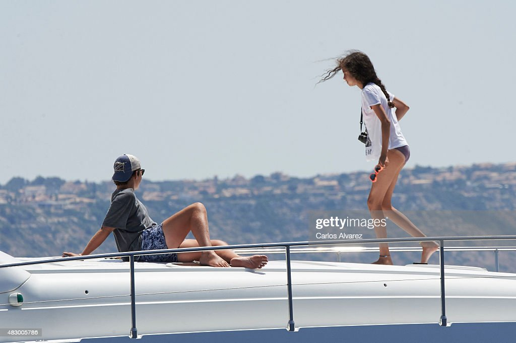 Felipe Juan Froilan Marichalar and Victoria Federica Marichalar on board of the Somny during the 34th Copa del Rey Mapfre Sailing Cup day 3 on August 5, 2015 in Palma de Mallorca, Spain.
