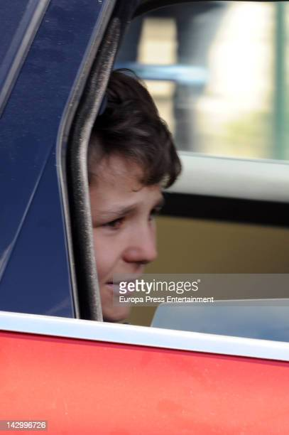 Felipe Juan Froilan Marichalar leaves Quiron Hospital in Madrid on April 16 2012 in Madrid Spain The 13yearold grandson of Spain's King Juan Carlos...