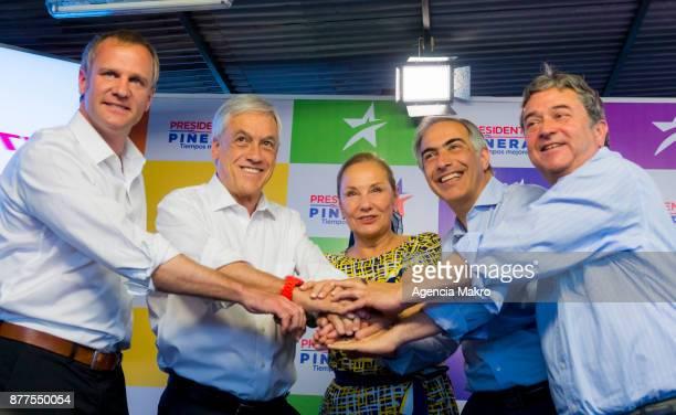 Felipe Kast Sebastián Piñera Cecilia Morel Francisco Chahuán and Juan Antonio Coloma pose during a press conference to present the new presidential...