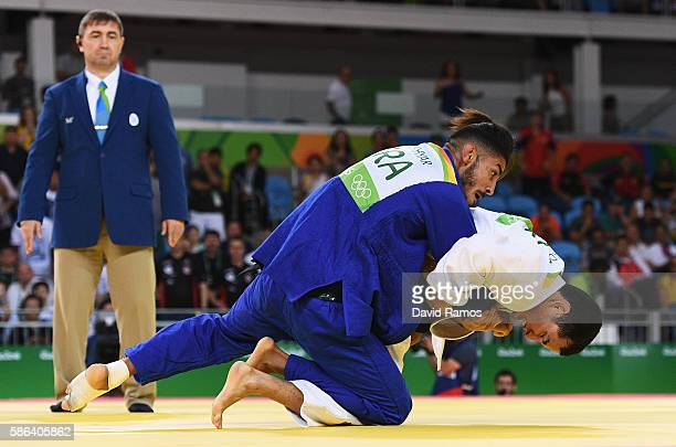 Felipe Kitadai of Brazil competes against Walide Khyar of France in the Men's 60 kg Judo on Day 1 of the Rio 2016 Olympic Games at Carioca Arena 2 on...