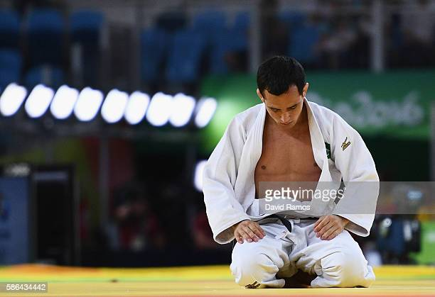 Felipe Kitadai of Brazil reacts after being defeated by Diyorbek Urozboev of Uzbekistan during the Men's 60 kg Repechage Judo contest on Day 1 of the...