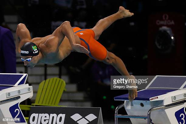 Felipe Lima of Brazil competes in the 100m Breaststroke final on day one of the 13th FINA World Swimming Championships at the WFCU Centre on December...