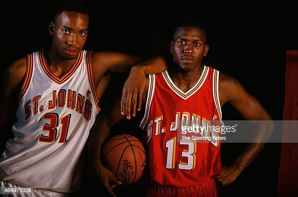 Felipe Lopez and Zendon Hamilton of the St John's Red Storm pose for a photo on June 17, 1996.