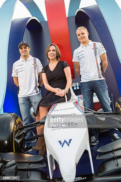 Felipe Massa, Claire Williams and Valtteri Bottas attend the inauguration of the Williams Martini Racing Terrace in Barcelona on May 7, 2014 in...