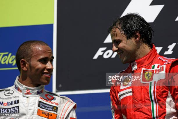 Felipe Massa, Lewis Hamilton, Grand Prix of Europe, Valencia Street circuit, 24 August 2008. Felipe Massa and Lewis Hamilton on the winners podium.