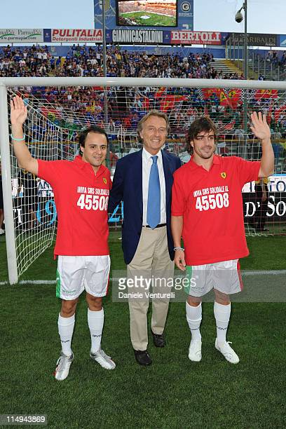 Felipe Massa, Luca Cordero di Montezemolo and Fernando Alonso attend the XX Partita Del Cuore charity football game at Stadio Ennio Tardini on May...