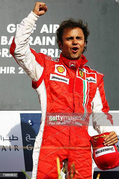 Felipe Massa of Brazil and Ferrari celebrates on the podium after winning the Bahrain Formula One Grand Prix at the Bahrain International Circuit on...