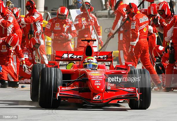 Felipe Massa of Brazil and Ferrari comes in for a pitstop during the Bahrain Formula One Grand Prix at the Bahrain International Circuit on April 15...