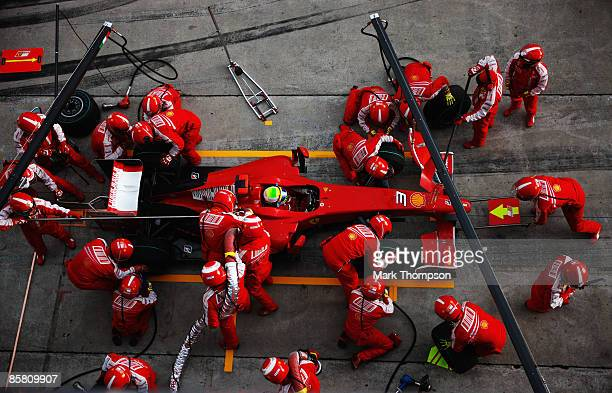 Felipe Massa of Brazil and Ferrari comes in for a pitstop during the Malaysian Formula One Grand Prix at the Sepang Circuit on April 5 2009 in Kuala...