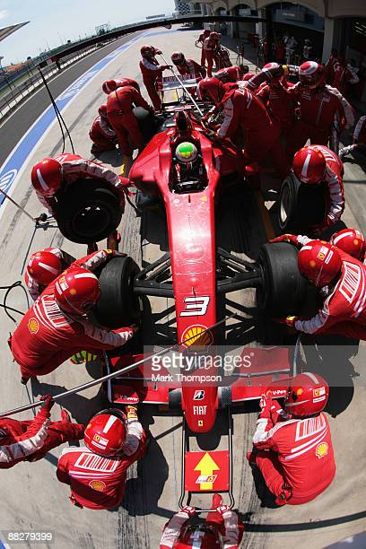 Felipe Massa of Brazil and Ferrari comes in for a pitstop during the Turkish Formula One Grand Prix at Istanbul Park on June 7 in Istanbul, Turkey.