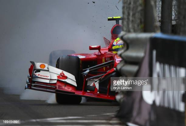 Felipe Massa of Brazil and Ferrari crashes at St Devote during the final practice session prior to qualifyingat the Circuit de Monaco on May 25, 2013...
