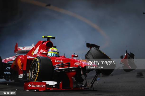 Felipe Massa of Brazil and Ferrari crashes at St Devoteduring the final practice session prior to qualifying for Grand Prix at the Circuit de Monaco...