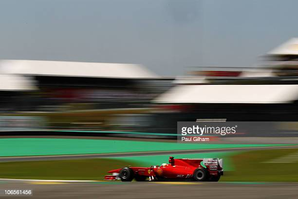 Felipe Massa of Brazil and Ferrari drives during practice for the Brazilian Formula One Grand Prix at the Interlagos Circuit on November 5 2010 in...