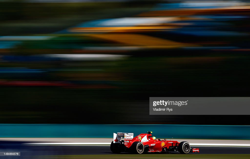 Felipe Massa of Brazil and Ferrari drives during practice for the Hungarian Formula One Grand Prix at the Hungaroring on July 27, 2012 in Budapest, Hungary.