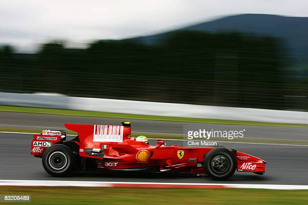Felipe Massa of Brazil and Ferrari drives during practice for the Japanese Formula One Grand Prix at the Fuji Speedway on October 10 2008 in Shizuoka...